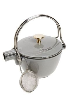 Free shipping and returns on Staub 1 Quart Enameled Tea Kettle at Nordstrom.com. Meticulously crafted from enameled cast iron in a sleek, streamlined silhouette, this pretty stone-grey teakettle comes fitted with a slim stainless steel handle and shining brass knob.