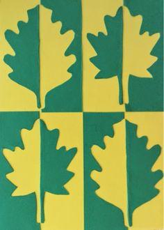 Materiale 2 fogli di cartoncino con colori contrastanti tra loro Forbici Colla stick Sagoma foglia fornita dalla proff Sagom...