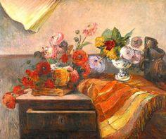 Paul Gauguin Bouquets et ceramiques sur une commode