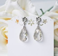 Crystal Teardrop Titanium Earrings Silver Shade by KaoriKaori