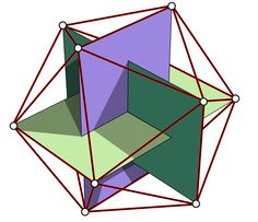 The points of an Icosahedron (one of the 5 Platonic Solids) an be made by intersecting 3 Golden rectangles (based on the proportion Phi - - the Golden Ratio). An icosahedron has 20 triangular faces, 30 edges and 12 vertices. Geometric Designs, Geometric Shapes, Geometric Patterns, Platonic Solid, Sacred Geometry Art, Math Art, Golden Ratio, Meditation Music, Flower Of Life