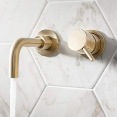 Crosswater MPRO Wall Mounted Basin Mixer Tap - Brushed Brass :) Visit us at www.ie to view our Crosswater Mpro range! Bathroom Basin Taps, Bath Shower Mixer Taps, Basin Mixer Taps, Shower Valve, Gold Bathroom, Bathroom Ideas, Brass Bathroom Fixtures, Pink Bathrooms, Concrete Bathroom