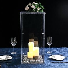 Clear Acrylic Pedestal Risers | Transparent Acrylic Display Boxes | TableclothsFactory Acrylic Plastic, Acrylic Box, Clear Acrylic, Table Top Display, Display Boxes, Prop Box, Acrylic Display Box, Centerpieces, Candle Decorations