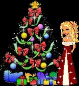 Christmas tree and blonde dollz animated lights