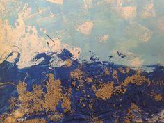 """""""El gran azul mediterránea en Antibes"""", 1888 Claude Monet COLLAGE Cielo. tempera celeste con pinceletas Nubes: esponjeado de temperas blancas Mar: con peine, polenta y temperas Arena: polenta. Edad: 3 años"""