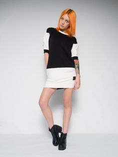 Black & white sweat dress Black & white style Cotton sweat dress Made with love in Poland
