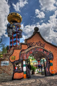 The Kuchlbauer Tower is an observation tower designed by Austrian architect Friedensreich Hundertwasser on the grounds of the Kuchlbauer Brewery in Abensberg, Germany.  Inside the tower is a collection of 4200 Weissbier glasses, along with an exhibition on the brewing process and an explanation of the Reinheitsgebot.