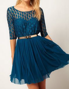 Stylish Scoop Neck 1/2 Sleeve Solid Color With Belt Chiffon Women's Dress