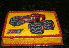21 Blaze and the Monster Machines Party Ideas - Pretty My Party - Party Ideas Blaze Birthday Cake, Twin Birthday, Birthday Sheet Cakes, Blaze And The Monster Machines Cake, Blaze Cakes, Monster Truck Birthday, Monster Party, 4th Birthday Parties, Birthday Ideas