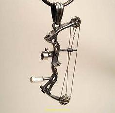 Archery Jewelry Compound Bow Pendant Silver Handmade