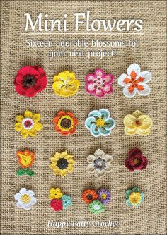The e-book includes patterns for small Moth Orchid, Rose, Poppy, Gerbera, Plumeria, Sunflower, Buttercup and many more blossoms, each was designed to be easily used as applique and decoration to many projects - from hair accessories (clips / pins), to jewelry (rings, necklaces, earrings) to gift wrapping, scrap booking and mini decorative sets.  #crochetflowers #miniflowers #flowerappliques #rose #orchid #poppy #daisy #iloveflowers