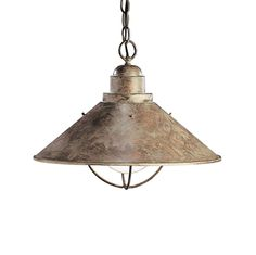 Kichler Nautical Pendant Light in Olde Brick Finish with Bulb Cage - ceiling lighting - by Destination Lighting Transitional Pendant Lighting, Rustic Pendant Lighting, Light Pendant, Pendant Lamps, Rustic Lamps, Bronze Pendant, Industrial Lighting, Ceiling Pendant, Rustic Decor