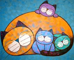 Cat with Kittens by Noi Thailand (Sitidech Chaiprasert) Fat Cats, Cats And Kittens, Kitty Cats, Cat Drawing, Painting & Drawing, Art Picasso, Illustration Art, Illustrations, Cat Quilt