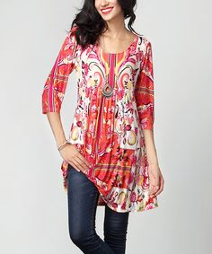 1aed1db0cb7 Orange Paisley Empire-Waist Tunic Dress #zulily #zulilyfinds Embellished  Skirt, Latest Outfits