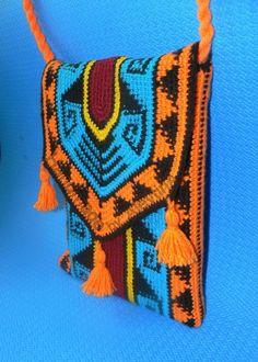Crochet tapestry Bag Native American Wayuu Bag by AlevtinaDesigns Crochet Case, Crochet Purses, Hand Crochet, Boho Tapestry, Tapestry Bag, Mochila Crochet, Tapestry Crochet Patterns, Crochet Backpack, Knitted Bags