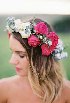 Gypsy/Boho Fresh Floral Hair Wreath Of Magenta & White Garden Roses, & Fresh Blue Florals With Baby Eucalyptus^^^^