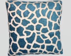 Blue Giraffe Chenille Throw Pillow Square Ready to ship Cover and Insert Animal Print Cushion Parakeet Bird, Bird Pillow, Fruit Print, Printed Cushions, Blue Cream, Giraffe, Pillow Covers, Floral Prints, Throw Pillows
