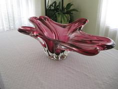 Vintage Chalet Art Glass Large Centerpiece