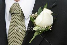 white rose boutonniere.
