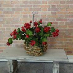 Miniature Flowers Geranium in a Hanging Basket on etsy $32.99 by KikiBeanMinis