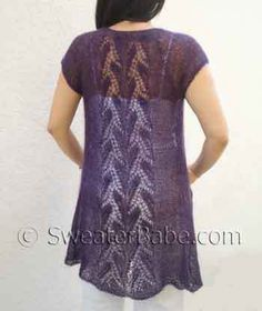 mohair yarn patterns free knit | Knitting Pattern for Whispering Leaves Lace Top-down Tunic Cardigan ...