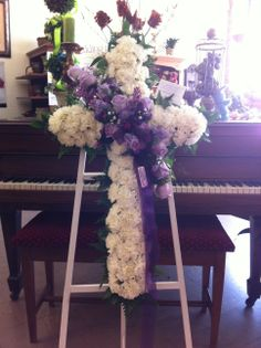 Cross Shaped Flower Arrangement with Purple Roses Blossoms Florist, Memory Boards, Best Roses, Easter 2015, Sympathy Flowers, Flowers Delivered, Purple Roses, Flower Arrangements, Shapes