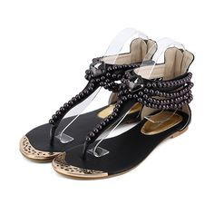 Boho Chic Pearl Beaded Sandals in 4 Colors
