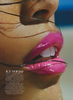 Shelby Coleman by Jason Heatherington for Marie Claire UK August 2013, pink lip stick