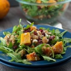 Butternut Squash Pomegranate Salad -- skip the cheese on top for #FastMetabolismDiet Phase 3. HealthyAperture.com