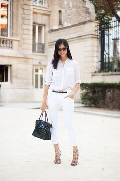 white shirt, trousers, beige heels, black handbag. Street summer women fashion @roressclothes closet ideas