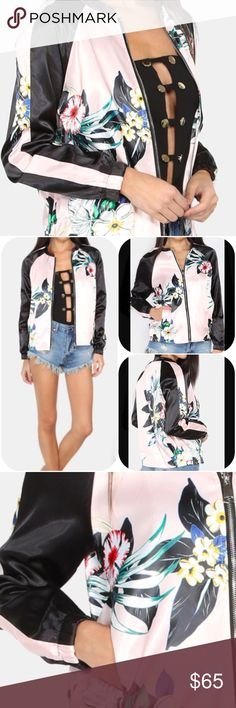 Flower Print Silky Bomber Jacket.  Price firm. Love this so much I kept one for myself! Silky smooth and right on trend in this pink flower print with black trim and contrast raglan sleeve, silky bomber jacket. Material-Polyester. Boutique Jackets & Coats
