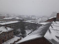 White-out over the city centre  Nottingham looking  towards the Newton building from Chaucer Street 1st March 2018 by Paul Harvey