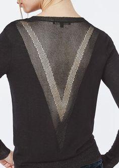 Fine knit sweater with lurex inserts - Sweaters & Cardigans - Maje.com