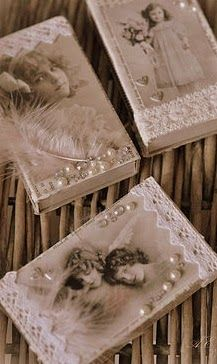 Vintage Boxes ~ decorated with vintage photos. Embellish with pearls, lace trim & rhinestones. Altered Tins, Altered Bottles, Matchbox Crafts, Matchbox Art, Shabby Chic Crafts, Vintage Crafts, Vintage Box, Vintage Shabby Chic, Craft Ideas