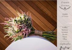 12 meses 12 ramos: Septiembre. Ramo de Ombú con astillbe, veronica, limonium, brunia, fresia y olivo.