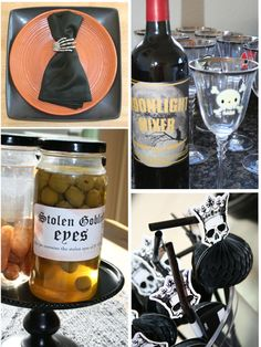 Some of the simple DIY Halloween decor. The Halloween wine glasses were made by rubbing on scrapbook transfers. They come right off with a quick soak in warm water.