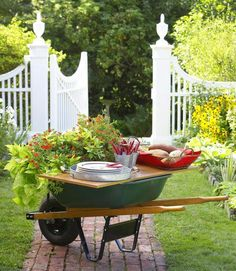 Wheelbarrow as a serving table..