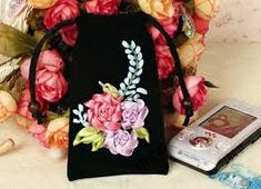 Flower Silk Ribbon Embroidery DIY Unique Craft Gift Home Textile Cell phone packet Wallet Purse Women's bag Craft Bags, Craft Gifts, Christmas Ribbon, Silk Ribbon Embroidery, Ribbon Crafts, Green Bag, Craft Items, Home Textile, Purse Wallet