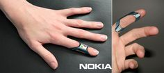 Nokia FIT. Hands-free Cell Phone by Issam Trabelsi - Crafted from soft silicone and flexible rubber, the phone is waterproof and has basic functions of texting and talking. Read more at http://www.yankodesign.com/2014/03/18/on-my-fingertips/#BoqeypLqZ0X3mOdQ.99