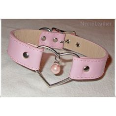 Pink Pearl Heart Ring Choker Discreet BDSM Collar with Faux Pearl... (1,585 PHP) ❤ liked on Polyvore
