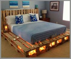 Superb Pallet bed upcycle beachy tones
