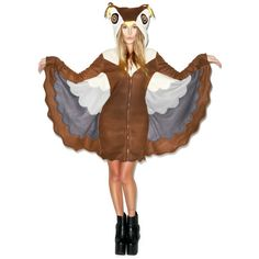 Owl Night Long Hooded Costume ($70) ? liked on Polyvore featuring costumes owl  sc 1 st  Pinterest & Furry Night Owl Hood | Leg Avenue | Pinterest | Night owl Leg ...