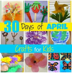 "30 Days of April Crafts for Kids - Lots of easy preschool crafts. Particularly excited about ""rain cloud in a jar."""