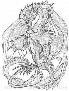 dragon coloring page adult coloring pagescoloring - Dragon Coloring Pages For Adults