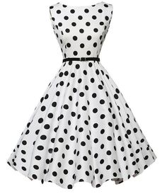 Belted White Polka Dot Vintage Dress 7d4f0e0d4538
