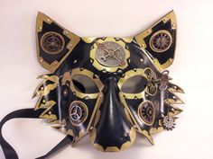 Steampunk Gold Gear Wolf Handmade leather by SquirrelCrkCreations, $85.00