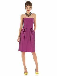 Alfred Sung style D614 is a Cocktail length strapless dupioni dress with shaped inset midriff and pleated skirt. Pockets at side seams of skirt.