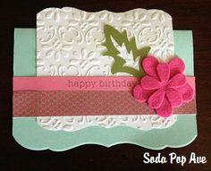 Embossed Happy Birthday Card with Felt Flowers www.SodaPopAve.com