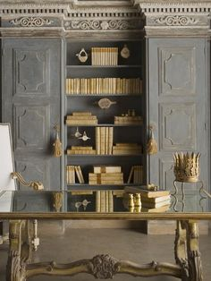Gray Bookcases and Cabinetry…Shelves between 2 ready to go kitchen ...