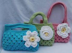Little Granny bags - Too cute! Wish I had little girls to crochet/knit for...